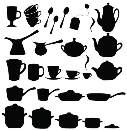Tea, coffee ans pot sets  Illustration