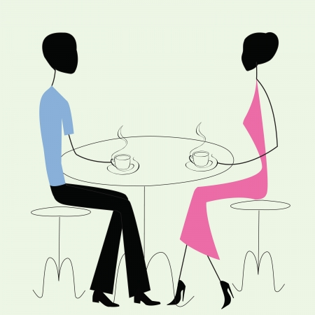 two men talking: man and woman in a cafe, vintage style