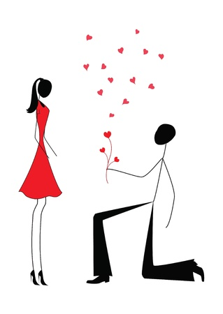 couple date: a man proposing to a woman while standing on one knee  Illustration