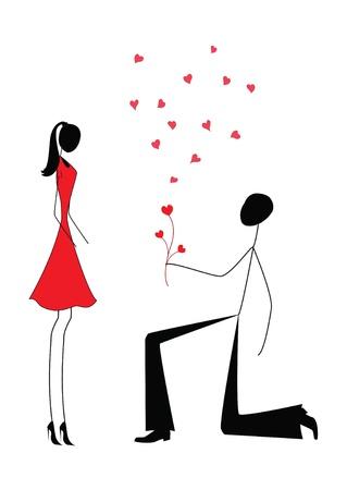 siluetas de enamorados: un hombre que propone a una mujer mientras está de pie en una rodilla