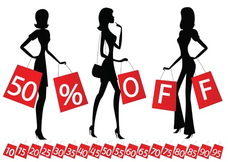 women shopping with inscription  50   OFF  on their bags  Also bags with different percents on the bottom