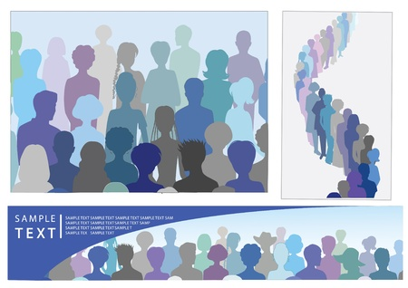 unrecognizable person: Set of illustrations with crowd, including banner with place for text