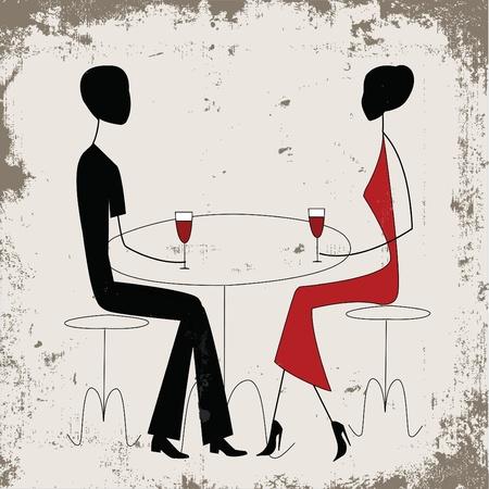 pareja comiendo: Hombre o mujer anuncio en un restaurante, de estilo vintage