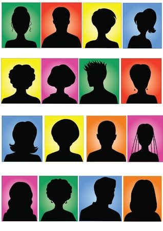 focus on shadow: Anonymous colorful mugshots  Illustration