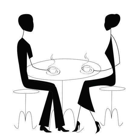 two men talking: man and women in a cafe