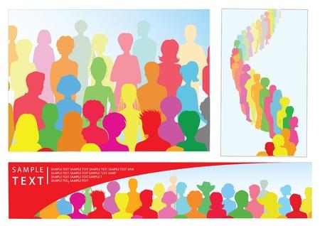 fila de espera: Conjunto de ilustraciones con gente, incluyendo la bandera con el lugar de texto Vectores