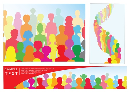 Set of illustrations with crowd, including banner with place for text
