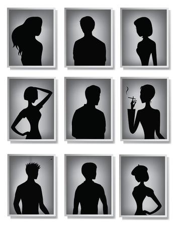 Silhouettes of men and women in frames  Ilustração