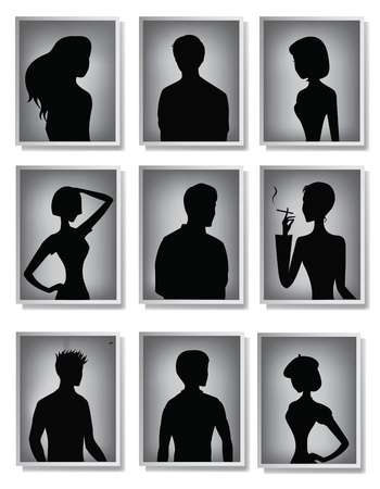 shadow puppets: Silhouettes of men and women in frames  Illustration