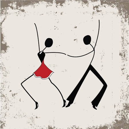 grunge: Dancing man and woman, stick figures