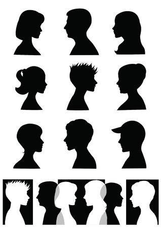 Silhouetten, profielen Vector Illustratie