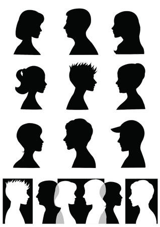 Siluetas, perfiles Ilustración de vector