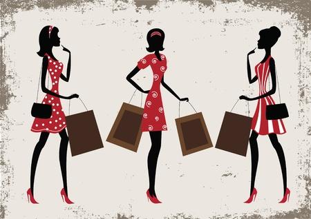shopper: Schattenbilder von einer Frauen Shopping, Vintage-Stil Illustration
