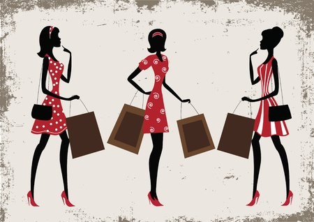 fashion boutique: Silhouettes of a women shopping, vintage style