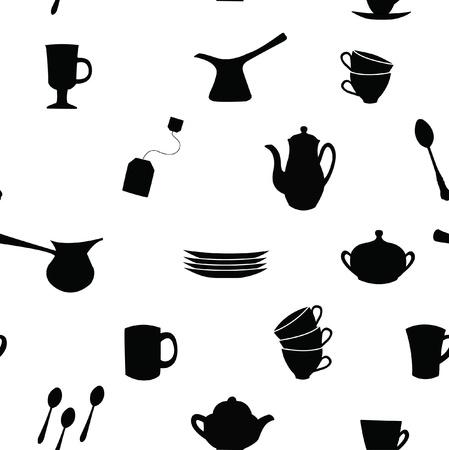 Seamless pattern  Tea, coffee ans pot sets  Illustration