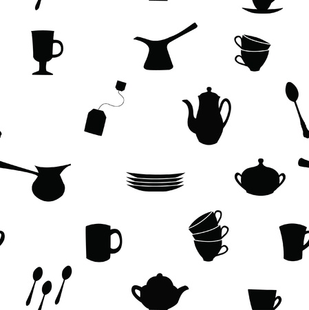 sugar spoon: Seamless pattern  Tea, coffee ans pot sets  Illustration