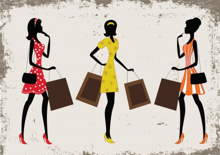 Silhouettes of a women shopping, vintage style Stock Vector - 13618099