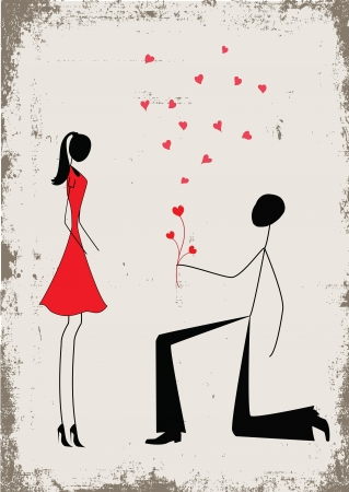 a man proposing to a woman while standing on one knee  Ilustração