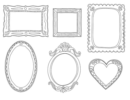 love picture: Set of hand-drawn doodle frames