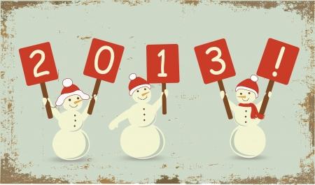 Snowmans on retro grunge background