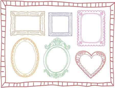 Set of hand-drawn colorful doodle frames Illustration