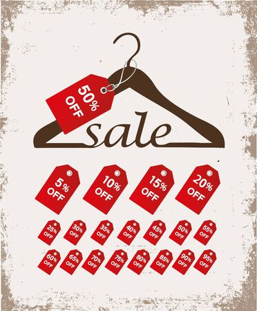 clothing label: Hanger with sale percents