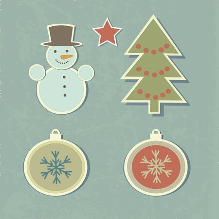 Set of vintage christmas elements Vector