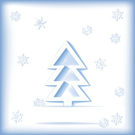 3D paper christmas tree and snowflakes