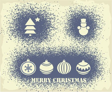 Christmas elements on a spray grunge background