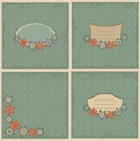 Set of four vintage backgrounds