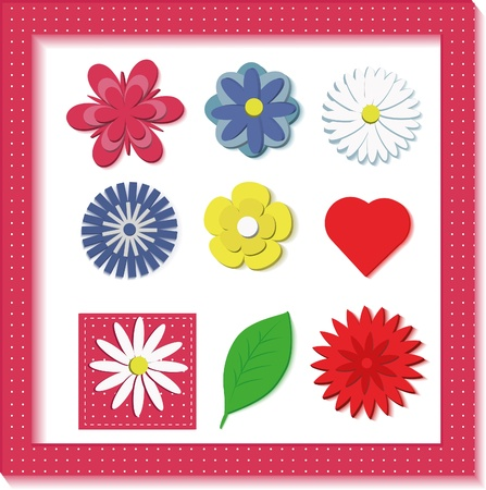 Isolated 3D flowers   Appropriate fo illustrations for children