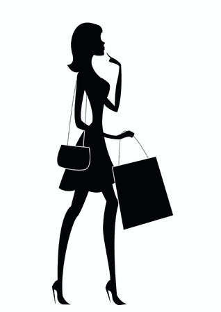 여자 쇼핑의 실루엣 일러스트