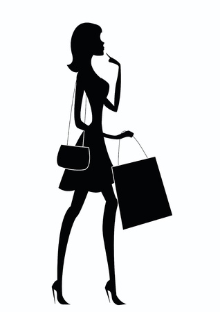 glamour shopping: Silhouette of a woman shopping  Illustration