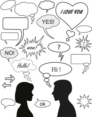 Set of dialog bubbles and two silhouettes  Illustration