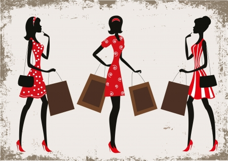19th: Silhouettes of a women shopping, vintage style