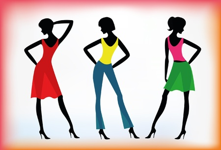 Fashion girls. Silhouettes  Illustration