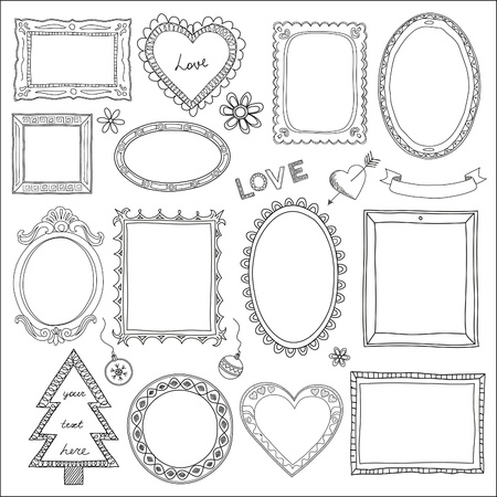 love picture: Set of doodle frames and different elements