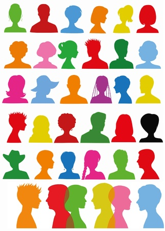 red head girl: Colorful head silhouettes  Illustration
