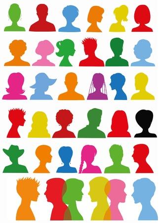man face profile: Siluetas coloridas de la cabeza Vectores
