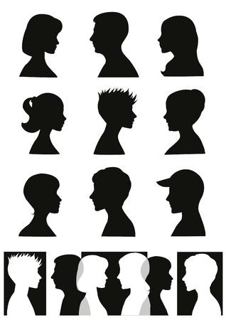 visage profil: Personnes silhouettes des profils et des banni�res