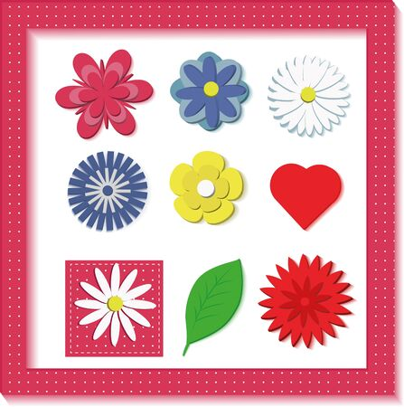 Set of isolated 3D flowers