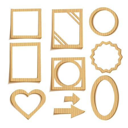 corrugated cardboard: Set of 3D cardboard frames
