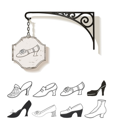 woman shadow: Set of hand drawn vintage shoes and signboard, vector illustration