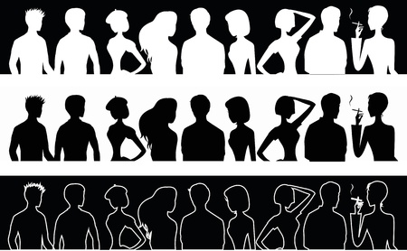 Set of banners with people silhouettes  Illustration