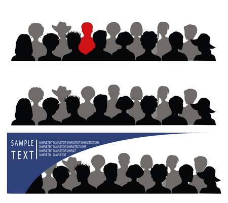 Set of banners with crowd and place for text Illustration