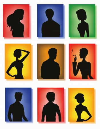 Silhouettes of men and women on colorful glass background Illustration