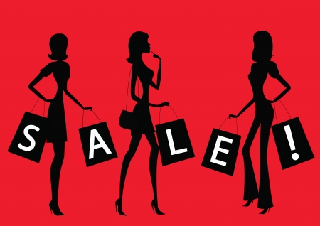 fashion boutique: Women shopping with word  SALE  on their bags  Illustration