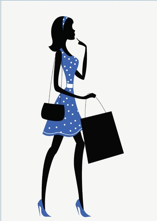 glamour shopping: silhouette of a woman  shopping, retro style