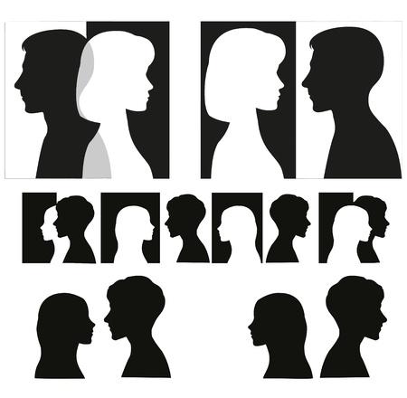 Set of black couple silhouettes