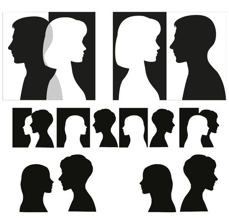 portrait woman: Set of black couple silhouettes